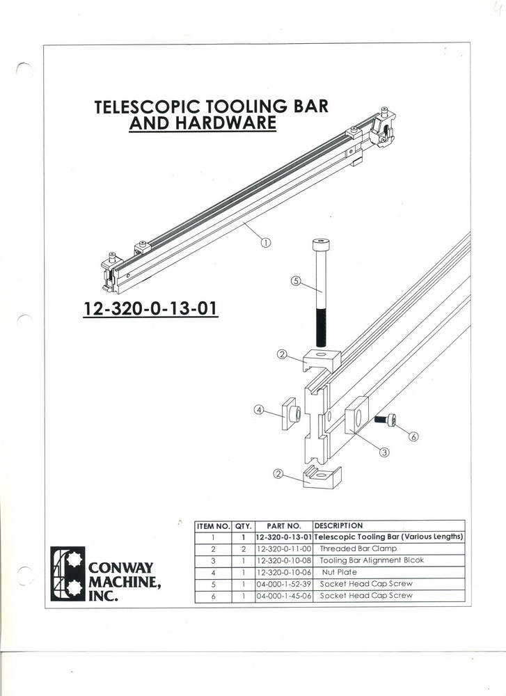 Telescopic Tooling Bar and Hardware