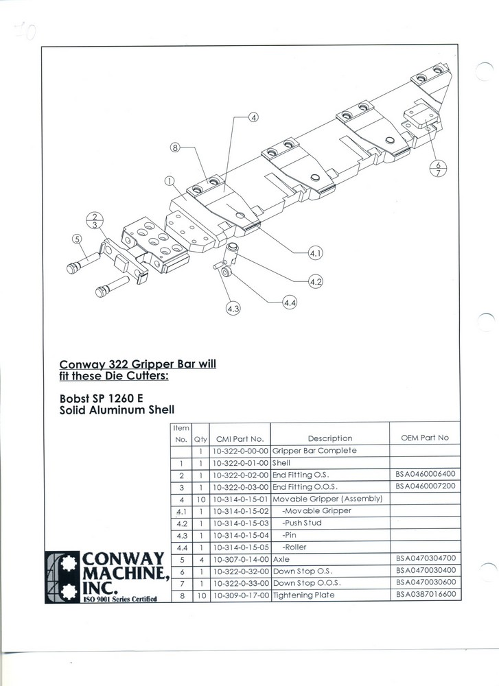 BOBST SP 1260 E Solid Aluminum Shell